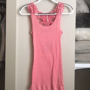 Free people ribbed tank with floral racerback XS